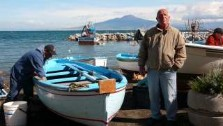 Italy, Sorrento, Porto Vecchio, fishermen and Vesuvius. italian gourmet travel, photographer jane gifford, your exclusive photographic travel guide to Italy