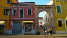 Italy, Emilia Romagna, Brescello, brightly coloured houses, italian gourmet travel - your exclusive photographic travel guide to italy, photographer jane gifford