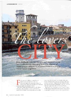 The Lovers' City, pdf of feature on verona in the italian magazine by jane gifford
